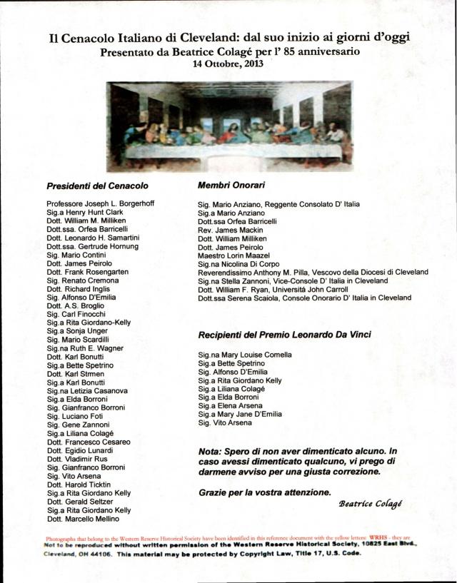 Document-pg.1 Beas lecture Il Cenacolo Italiano di Cleveland